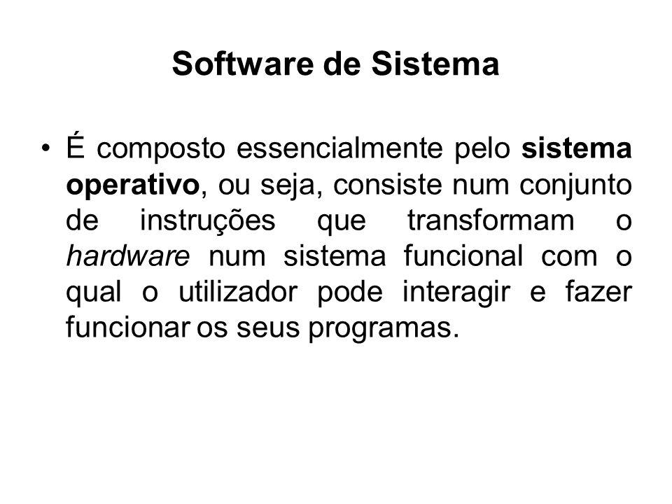 Software de Sistema É composto essencialmente pelo sistema operativo, ou seja, consiste num conjunto de instruções que transformam o hardware num sist