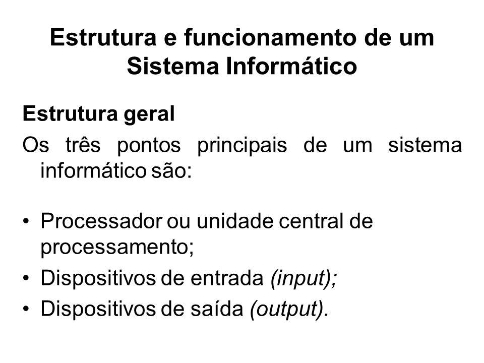 Estrutura e funcionamento de um Sistema Informático Estrutura geral Os três pontos principais de um sistema informático são: Processador ou unidade ce