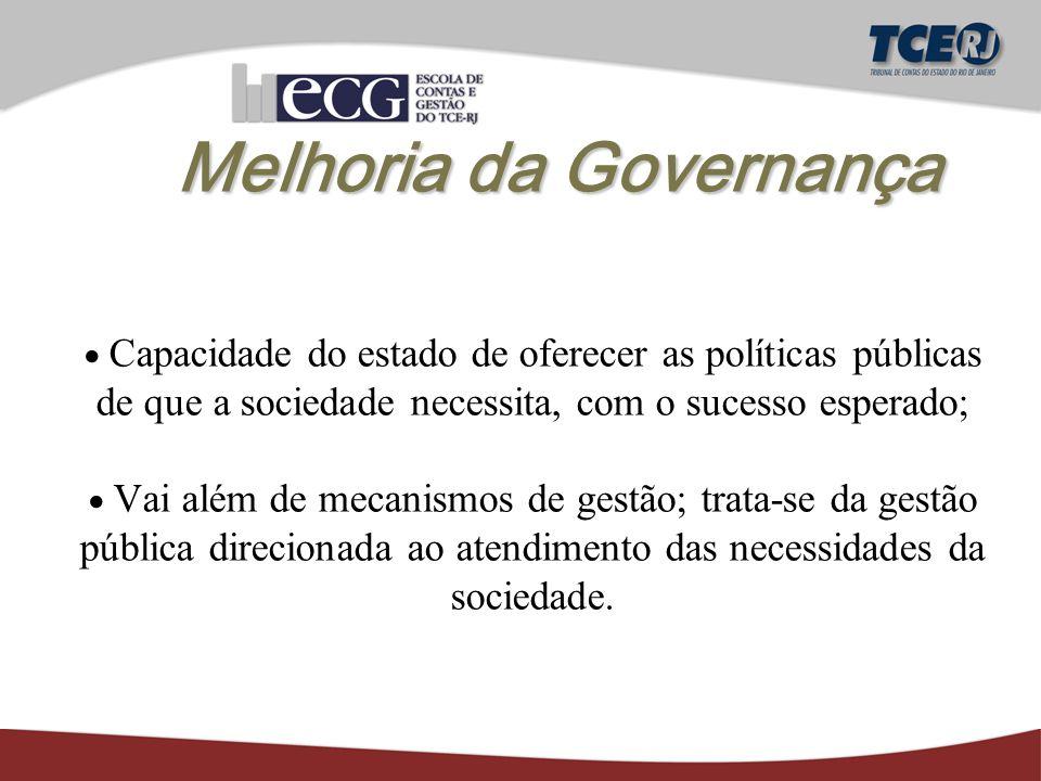 Melhoria da Governança  Capacidade do estado de oferecer as políticas públicas de que a sociedade necessita, com o sucesso esperado;  Vai além de mecanismos de gestão; trata-se da gestão pública direcionada ao atendimento das necessidades da sociedade.