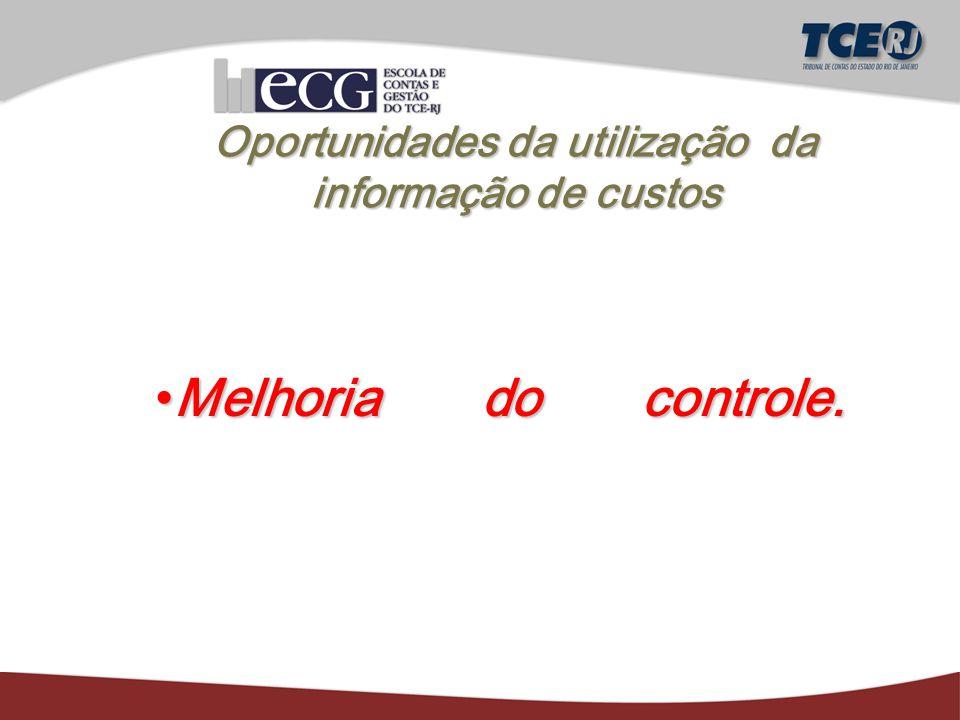 Oportunidades da utilização da informação de custos Melhoria do controle.Melhoria do controle.