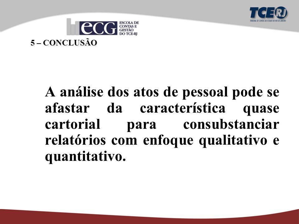 A análise dos atos de pessoal pode se afastar da característica quase cartorial para consubstanciar relatórios com enfoque qualitativo e quantitativo.