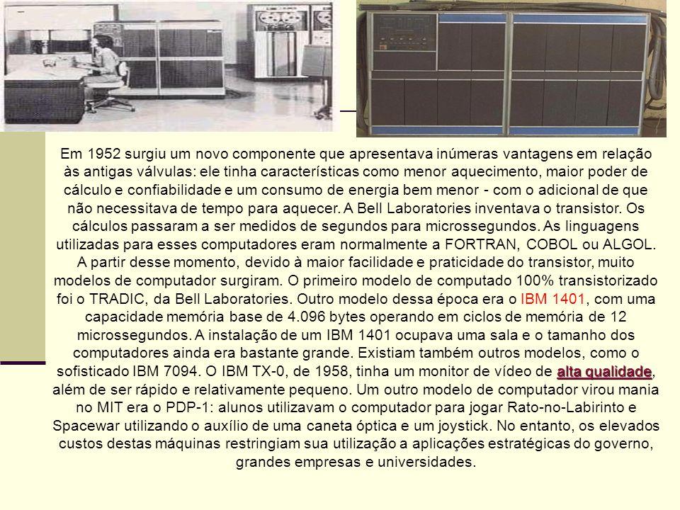 Em 1952 surgiu um novo componente que apresentava inúmeras vantagens em relação às antigas válvulas: ele tinha características como menor aquecimento,