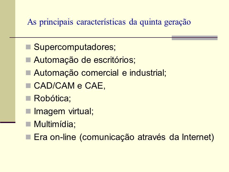 As principais características da quinta geração Supercomputadores; Automação de escritórios; Automação comercial e industrial; CAD/CAM e CAE, Robótica