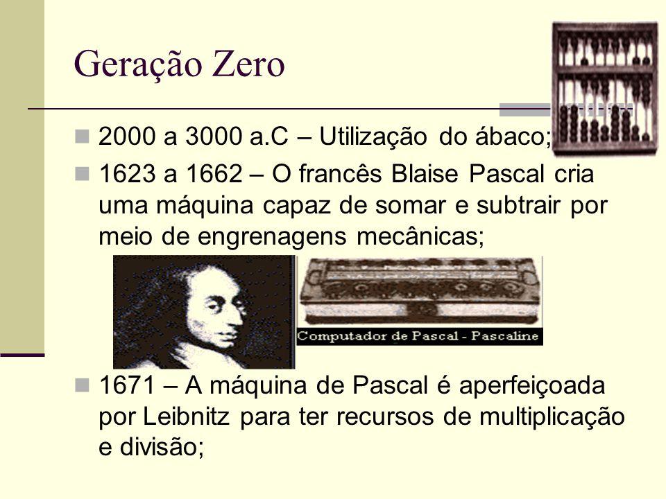 Geração Zero 2000 a 3000 a.C – Utilização do ábaco; 1623 a 1662 – O francês Blaise Pascal cria uma máquina capaz de somar e subtrair por meio de engre