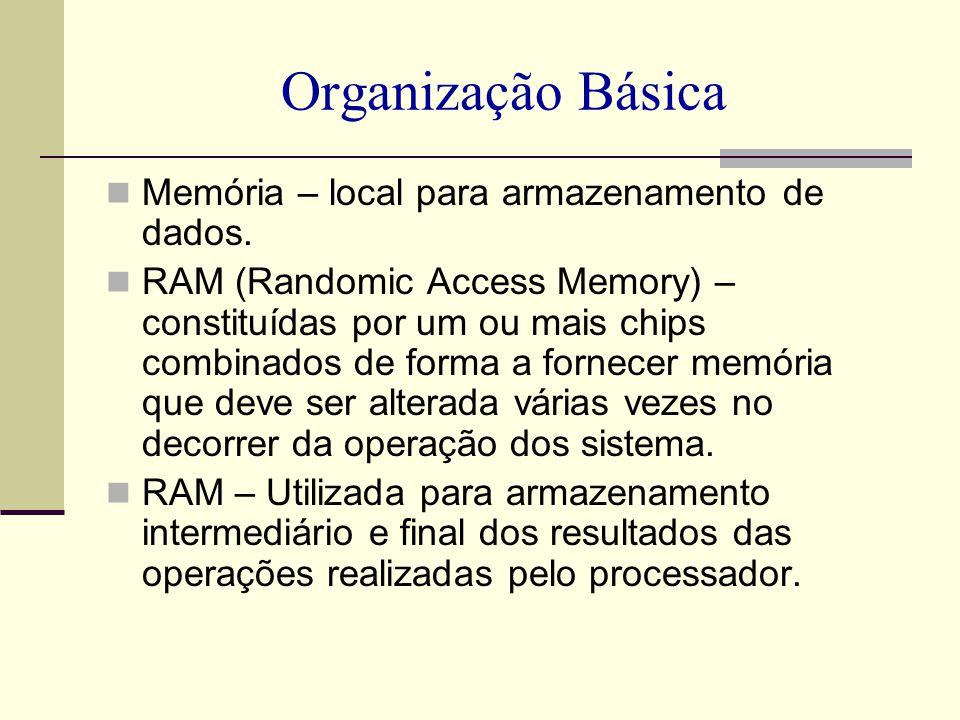 Organização Básica Memória – local para armazenamento de dados. RAM (Randomic Access Memory) – constituídas por um ou mais chips combinados de forma a