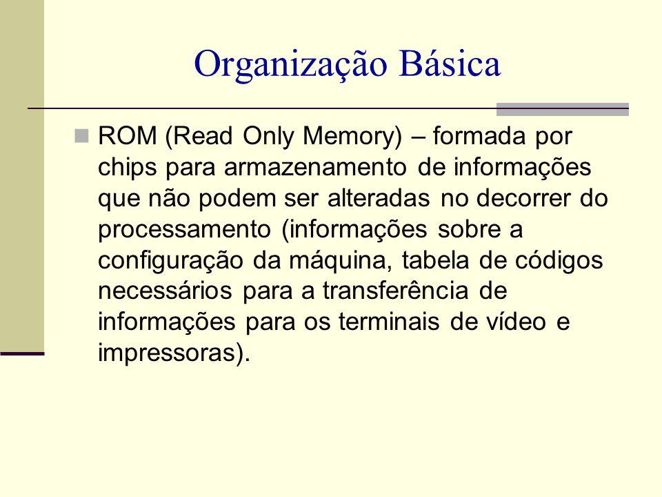 Organização Básica ROM (Read Only Memory) – formada por chips para armazenamento de informações que não podem ser alteradas no decorrer do processamen