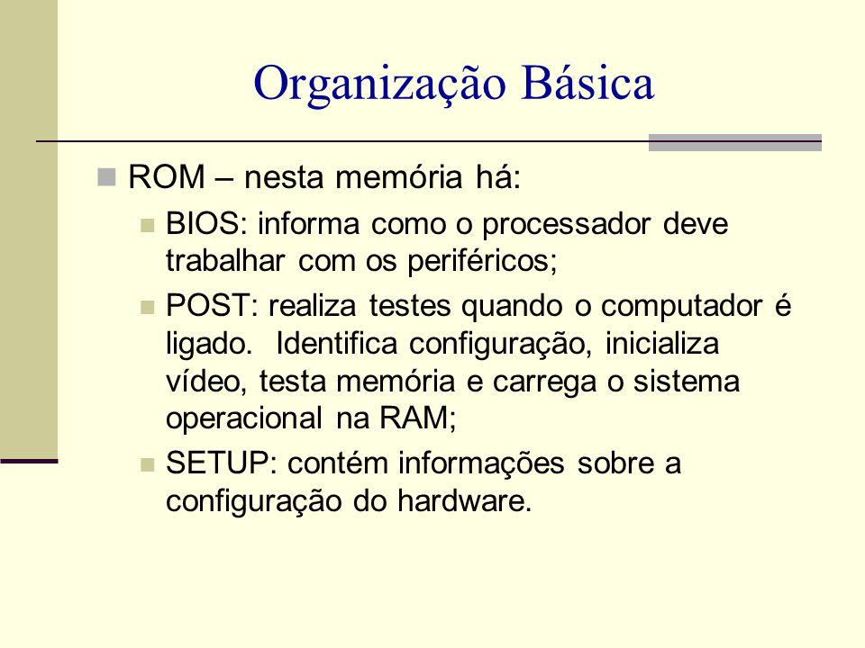 Organização Básica ROM – nesta memória há: BIOS: informa como o processador deve trabalhar com os periféricos; POST: realiza testes quando o computado