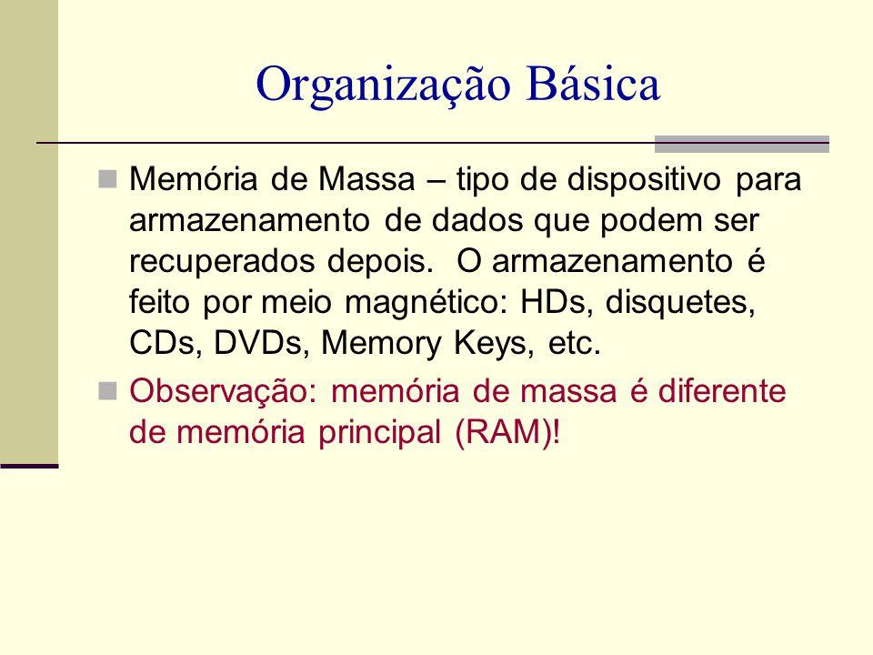 Organização Básica Memória de Massa – tipo de dispositivo para armazenamento de dados que podem ser recuperados depois. O armazenamento é feito por me
