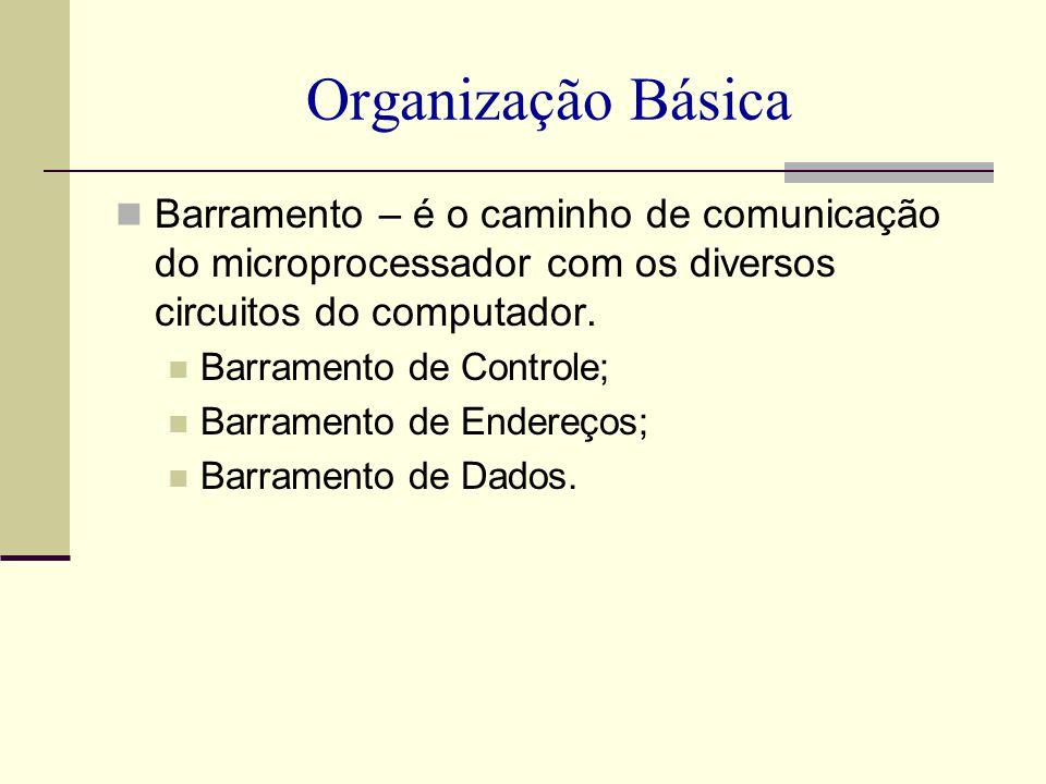 Organização Básica Barramento – é o caminho de comunicação do microprocessador com os diversos circuitos do computador. Barramento de Controle; Barram