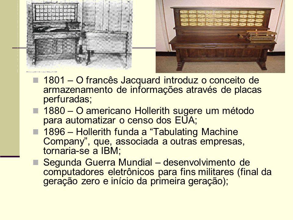 1801 – O francês Jacquard introduz o conceito de armazenamento de informações através de placas perfuradas; 1880 – O americano Hollerith sugere um mét