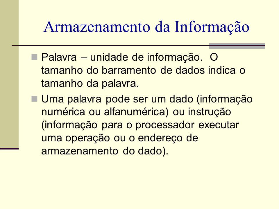 Armazenamento da Informação Palavra – unidade de informação. O tamanho do barramento de dados indica o tamanho da palavra. Uma palavra pode ser um dad