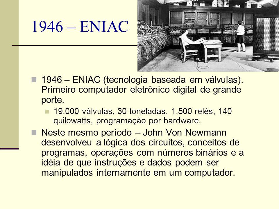 1946 – ENIAC 1946 – ENIAC (tecnologia baseada em válvulas). Primeiro computador eletrônico digital de grande porte. 19.000 válvulas, 30 toneladas, 1.5