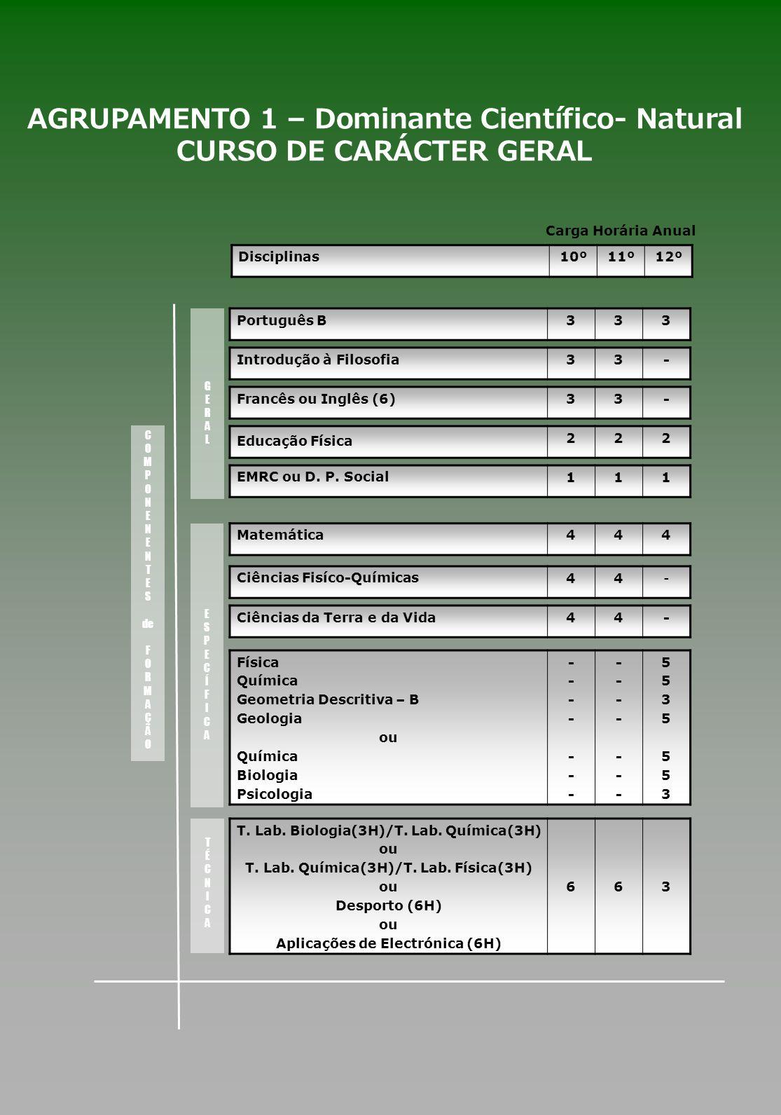 Português B333 AGRUPAMENTO 1 – Dominante Científico- Natural CURSO DE CARÁCTER GERAL Introdução à Filosofia33- Francês ou Inglês (6)33- Educação Físic