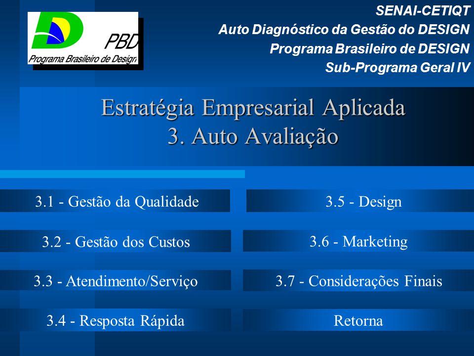 Estratégia Empresarial Aplicada 3. Auto Avaliação SENAI-CETIQT Auto Diagnóstico da Gestão do DESIGN Programa Brasileiro de DESIGN Sub-Programa Geral I