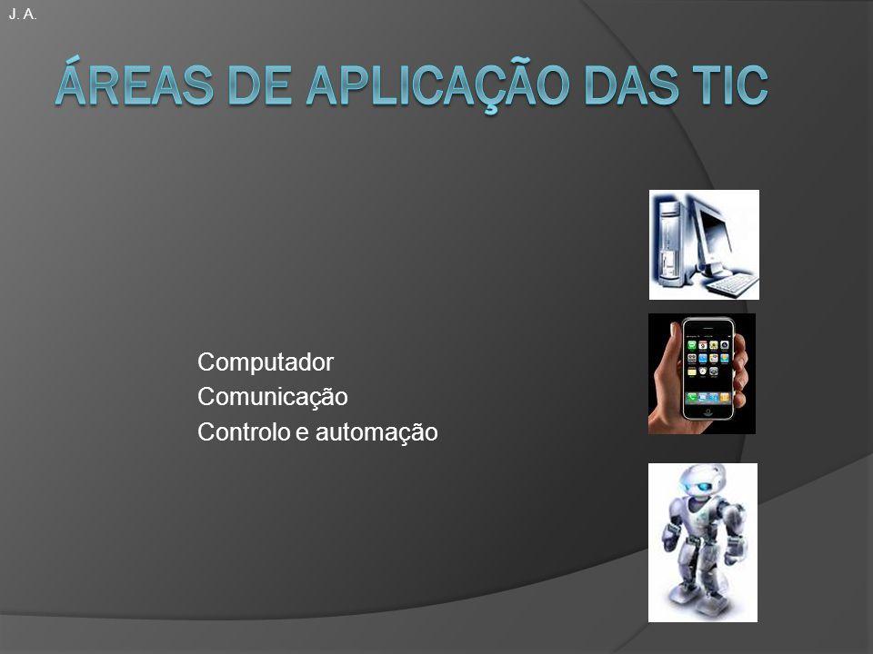 Áreas de aplicação das TIC Computador -Informática -Burótica Comunicação -Telecomunicações -Telemática Controlo e Automação -Robótica -CAD-CAM As TIC dominam o nosso quotidiano.
