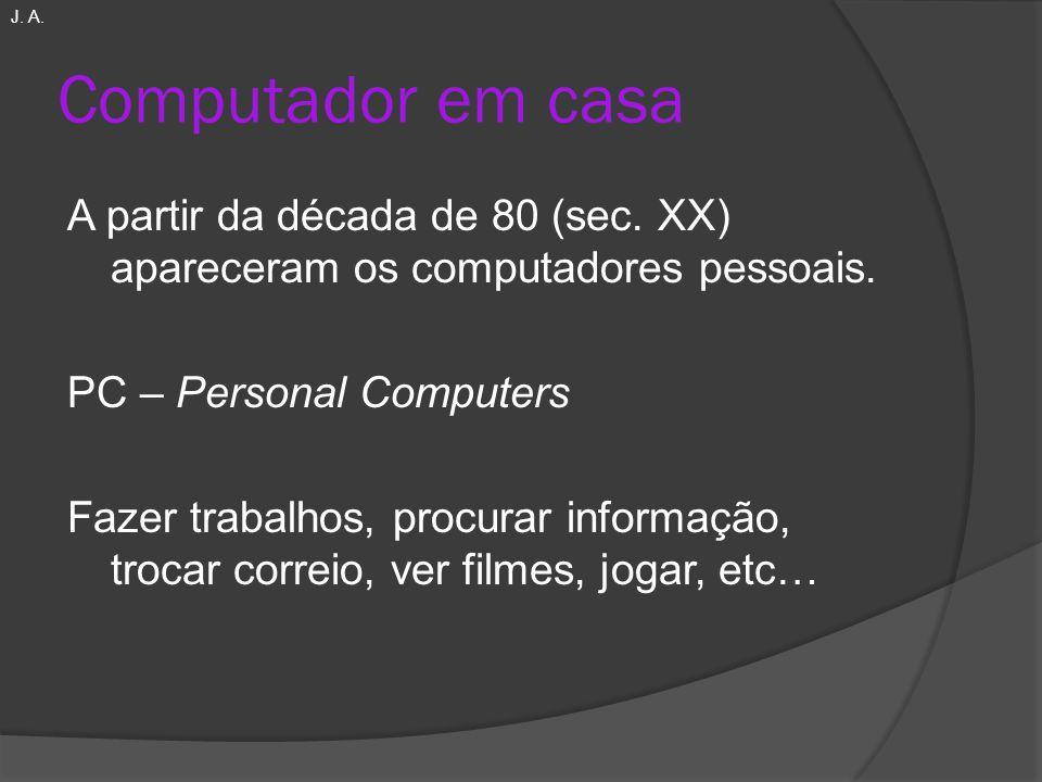 Computador em casa A partir da década de 80 (sec. XX) apareceram os computadores pessoais. PC – Personal Computers Fazer trabalhos, procurar informaçã