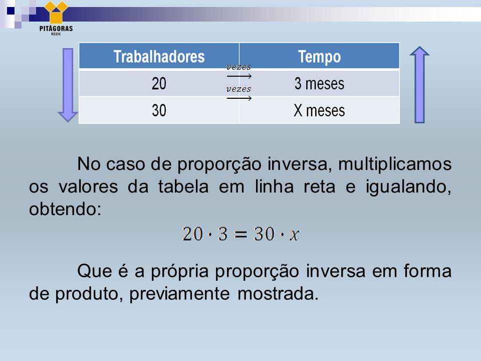 No caso de proporção inversa, multiplicamos os valores da tabela em linha reta e igualando, obtendo: Que é a própria proporção inversa em forma de produto, previamente mostrada.