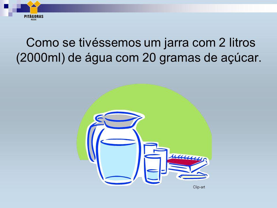 Como se tivéssemos um jarra com 2 litros (2000ml) de água com 20 gramas de açúcar. Clip-art