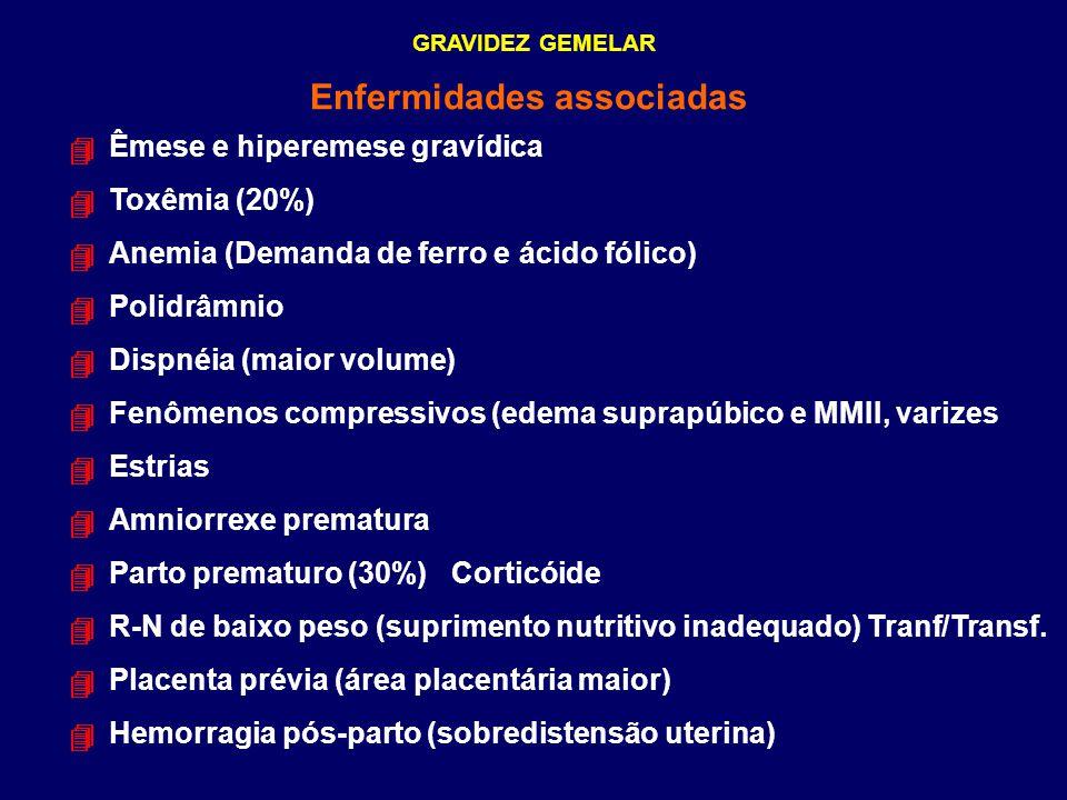 GRAVIDEZ GEMELAR Enfermidades associadas Êmese e hiperemese gravídica Toxêmia (20%) Anemia (Demanda de ferro e ácido fólico) Polidrâmnio Dispnéia (mai