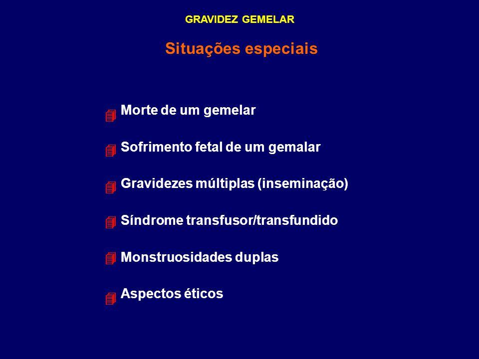 GRAVIDEZ GEMELAR Situações especiais Morte de um gemelar Sofrimento fetal de um gemalar Gravidezes múltiplas (inseminação) Síndrome transfusor/transfu