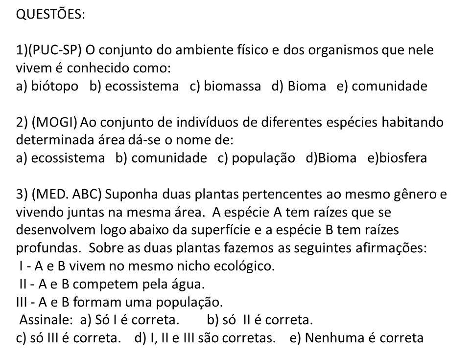 QUESTÕES: 1)(PUC-SP) O conjunto do ambiente físico e dos organismos que nele vivem é conhecido como: a) biótopo b) ecossistema c) biomassa d) Bioma e)