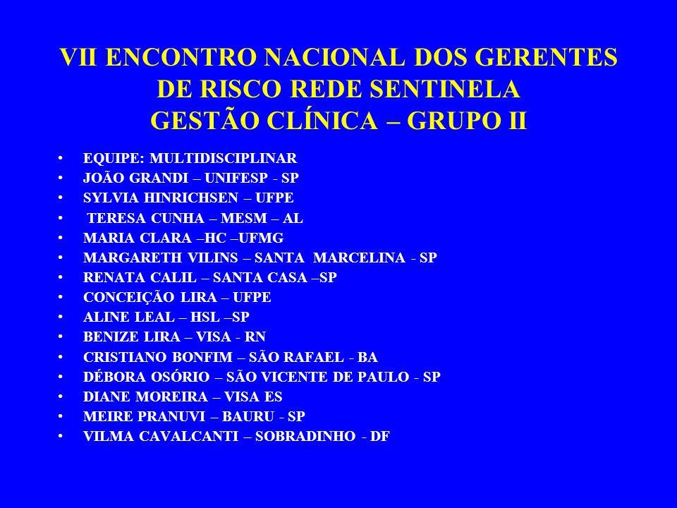 VII ENCONTRO NACIONAL DOS GERENTES DE RISCO REDE SENTINELA GESTÃO CLÍNICA – GRUPO II EQUIPE: MULTIDISCIPLINAR JOÃO GRANDI – UNIFESP - SP SYLVIA HINRICHSEN – UFPE TERESA CUNHA – MESM – AL MARIA CLARA –HC –UFMG MARGARETH VILINS – SANTA MARCELINA - SP RENATA CALIL – SANTA CASA –SP CONCEIÇÃO LIRA – UFPE ALINE LEAL – HSL –SP BENIZE LIRA – VISA - RN CRISTIANO BONFIM – SÃO RAFAEL - BA DÉBORA OSÓRIO – SÃO VICENTE DE PAULO - SP DIANE MOREIRA – VISA ES MEIRE PRANUVI – BAURU - SP VILMA CAVALCANTI – SOBRADINHO - DF