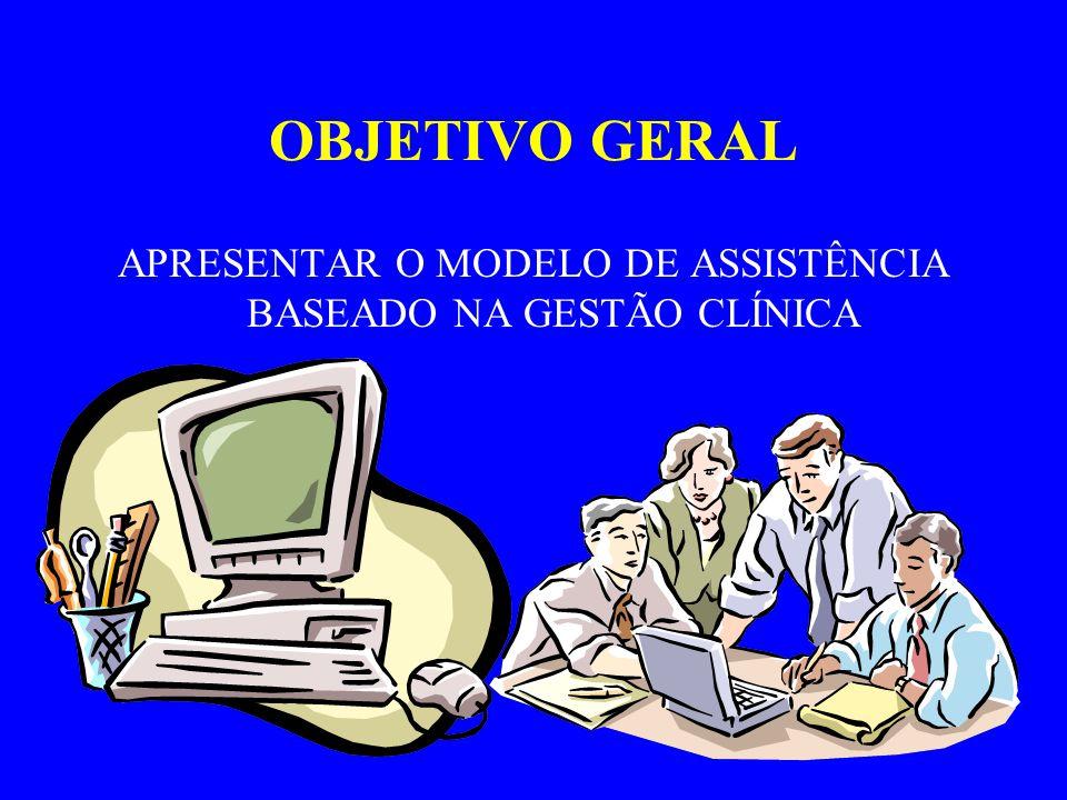 OBJETIVOS ESPECÍFICOS APRESENTAR MODELOS DE ASSISTENCIA COM QUALIDADE E OTIMIZAÇÃO DE CUSTOS; BASEADA NOS RECURSOS DISPONÍVEIS; INDEPENDENTE DOS RECURSOS FINANCEIROS; BASEADA NAS EVIDENCIAS CLÍNICAS