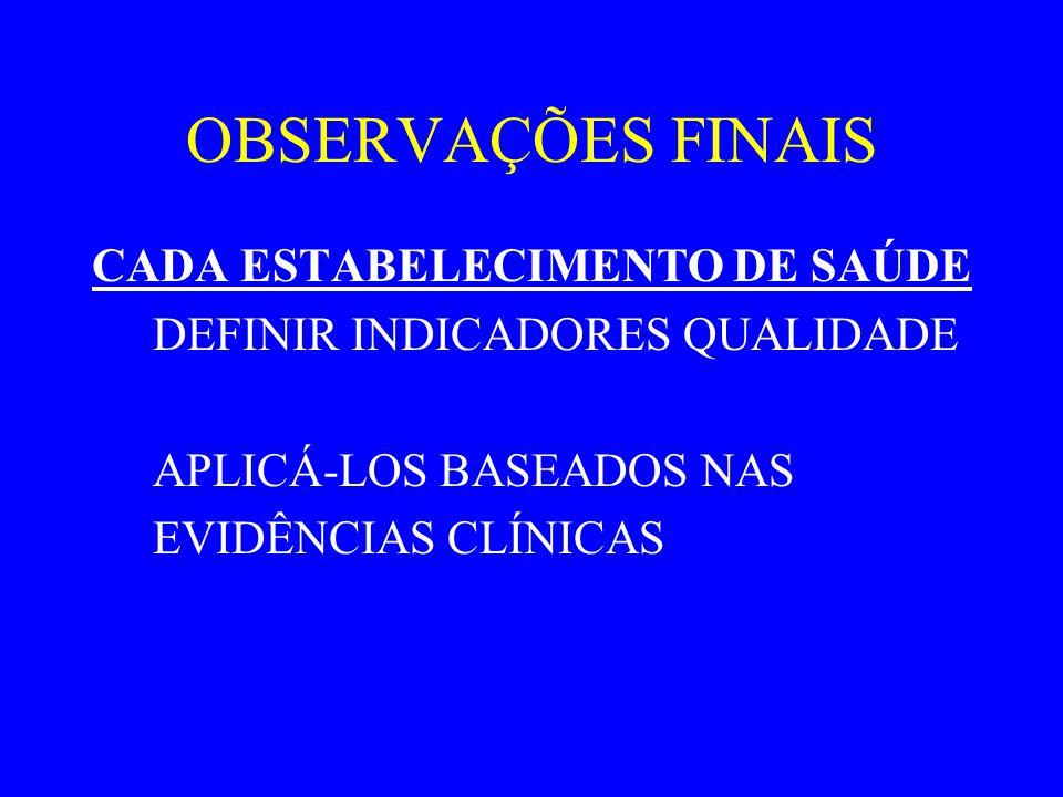 OBSERVAÇÕES FINAIS CADA ESTABELECIMENTO DE SAÚDE DEFINIR INDICADORES QUALIDADE APLICÁ-LOS BASEADOS NAS EVIDÊNCIAS CLÍNICAS