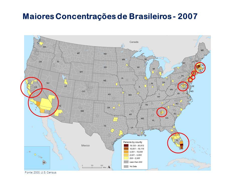 Maiores Concentrações de Brasileiros - 2007 Fonte: 2000, U.S. Census
