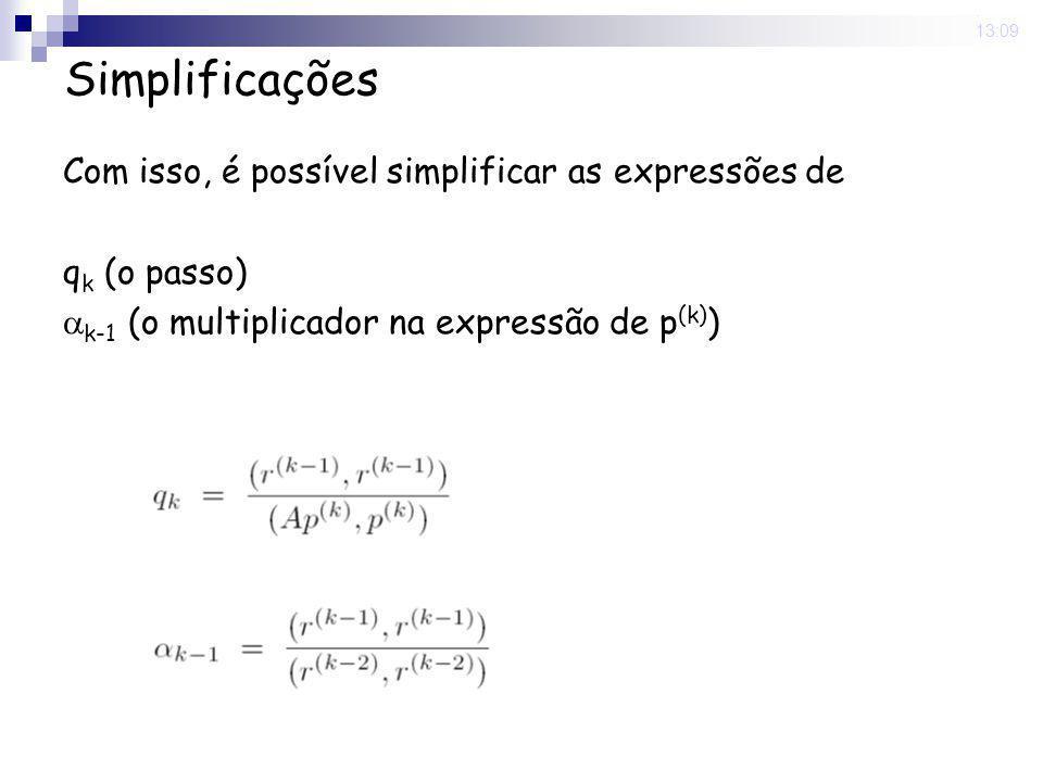 16 Nov 2008. 13:09 Simplificações Com isso, é possível simplificar as expressões de q k (o passo)  k-1 (o multiplicador na expressão de p (k) )