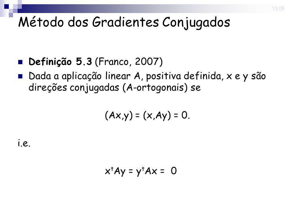 16 Nov 2008. 13:09 Método dos Gradientes Conjugados Definição 5.3 (Franco, 2007) Dada a aplicação linear A, positiva definida, x e y são direções conj