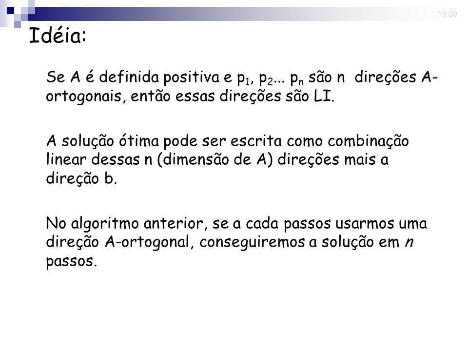 16 Nov 2008. 13:09 Idéia: Se A é definida positiva e p 1, p 2... p n são n direções A- ortogonais, então essas direções são LI. A solução ótima pode s