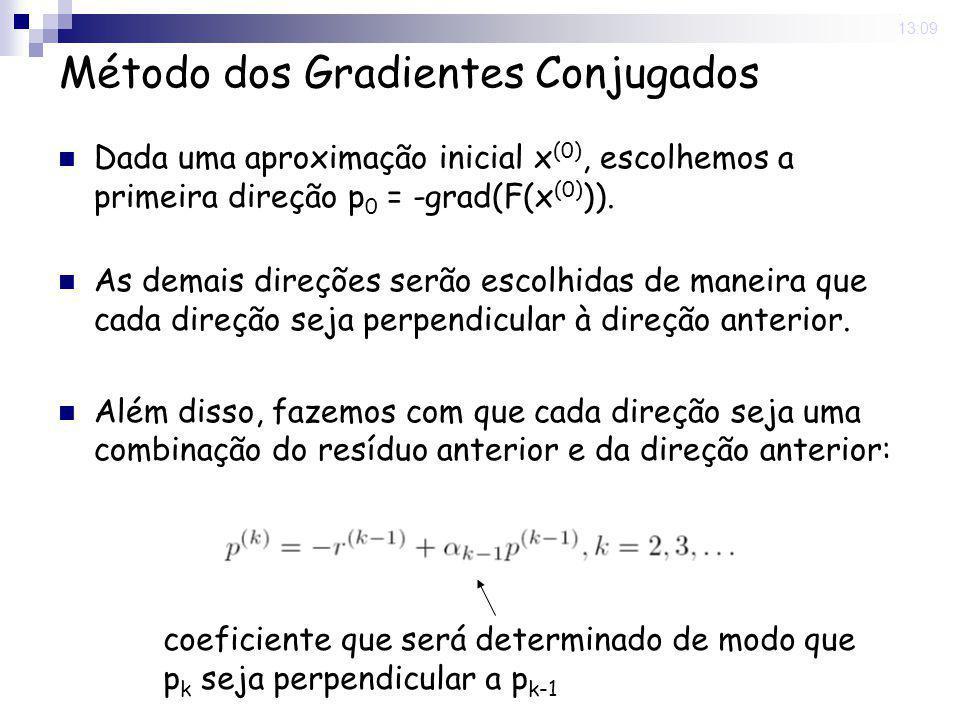 16 Nov 2008. 13:09 Método dos Gradientes Conjugados Dada uma aproximação inicial x (0), escolhemos a primeira direção p 0 = -grad(F(x (0) )). As demai