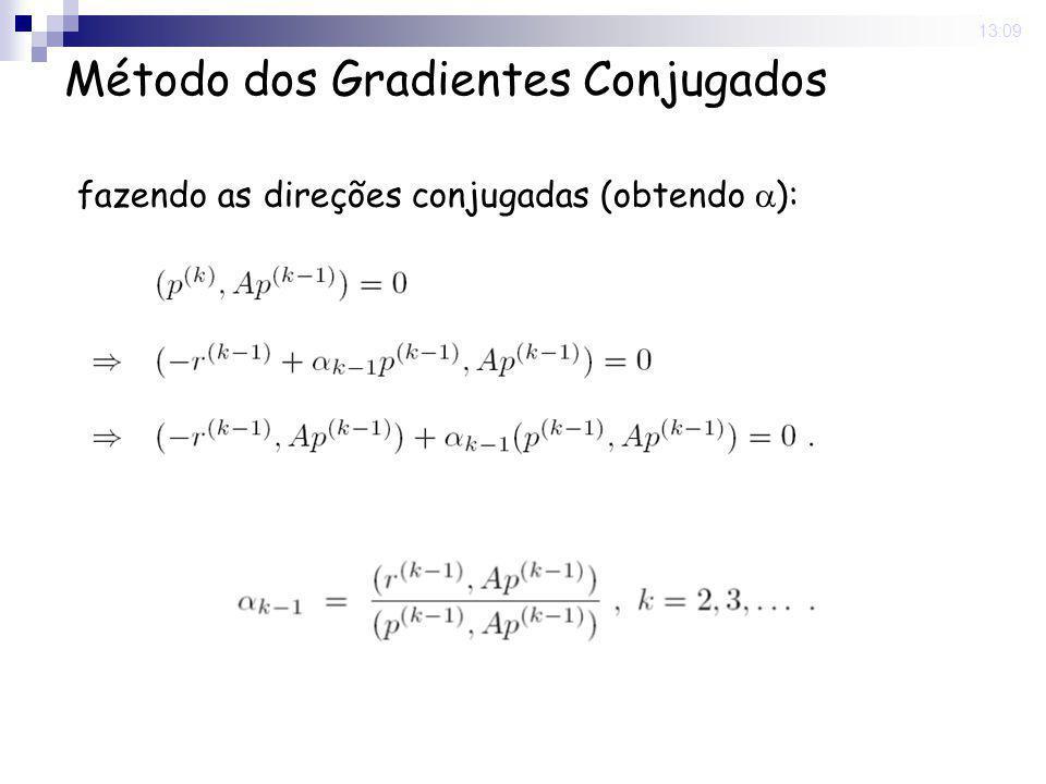 16 Nov 2008. 13:09 Método dos Gradientes Conjugados fazendo as direções conjugadas (obtendo  ):