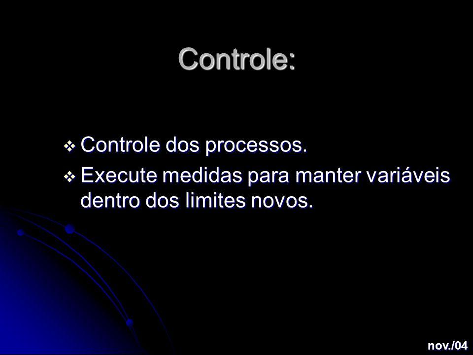 Controle:  Controle dos processos.