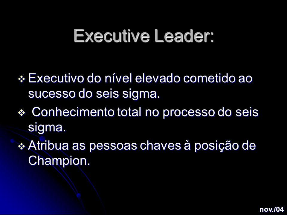 Executive Leader:  Executivo do nível elevado cometido ao sucesso do seis sigma.
