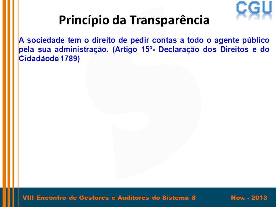 VIII Encontro de Gestores e Auditores do Sistema S Nov. - 2013 Princípio da Transparência A sociedade tem o direito de pedir contas a todo o agente pú