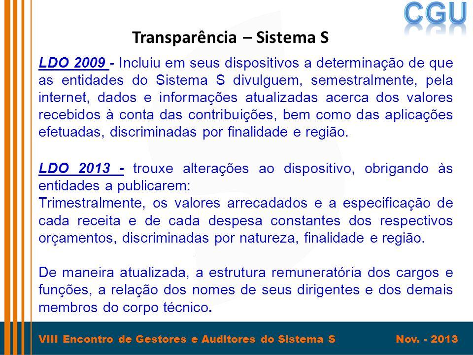 VIII Encontro de Gestores e Auditores do Sistema S Nov. - 2013 Transparência – Sistema S LDO 2009 - Incluiu em seus dispositivos a determinação de que