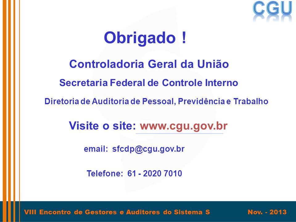 VIII Encontro de Gestores e Auditores do Sistema S Nov. - 2013 Obrigado ! Secretaria Federal de Controle Interno Visite o site:www.cgu.gov.br Telefone