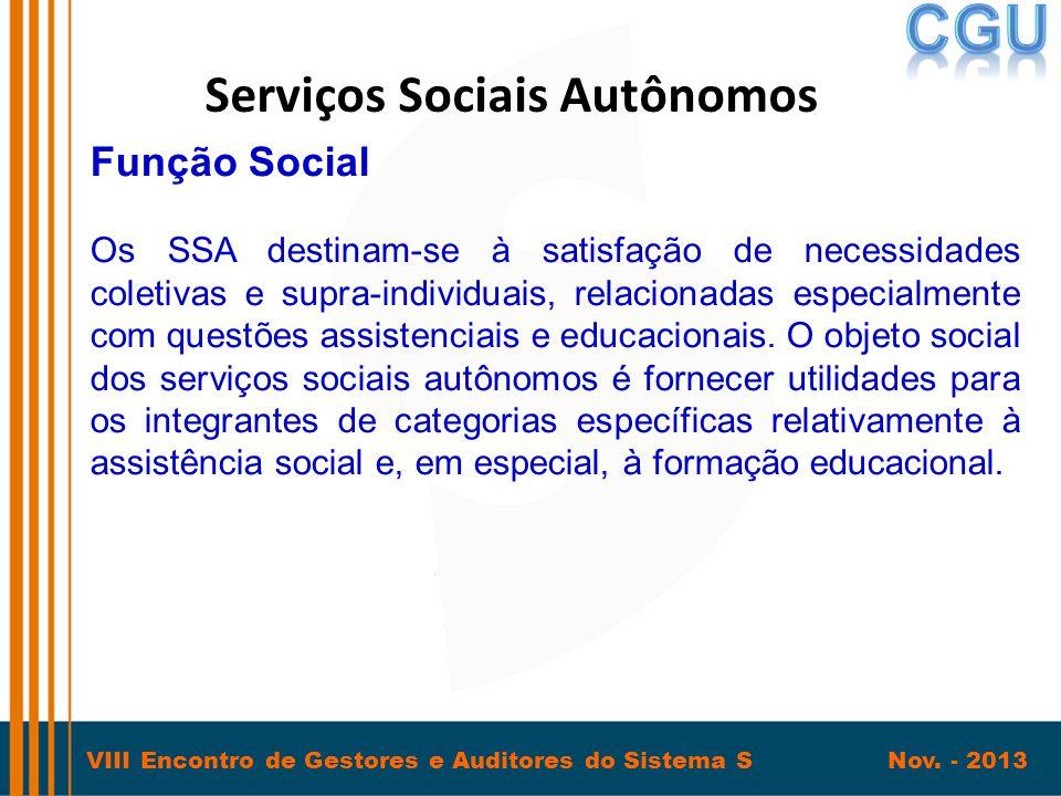 VIII Encontro de Gestores e Auditores do Sistema S Nov. - 2013 Serviços Sociais Autônomos Função Social Os SSA destinam-se à satisfação de necessidade