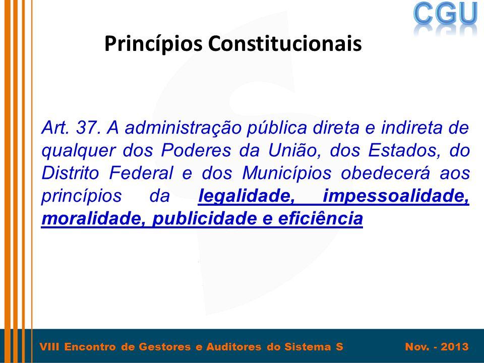 VIII Encontro de Gestores e Auditores do Sistema S Nov. - 2013 Princípios Constitucionais Art. 37. A administração pública direta e indireta de qualqu
