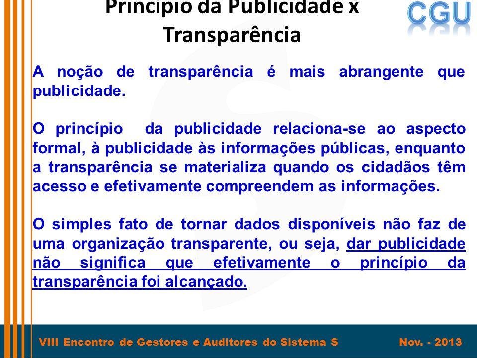 VIII Encontro de Gestores e Auditores do Sistema S Nov. - 2013 Princípio da Publicidade x Transparência A noção de transparência é mais abrangente que