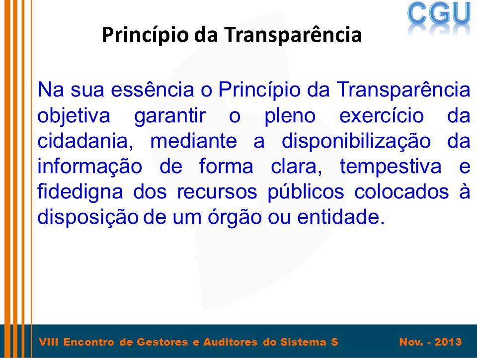 VIII Encontro de Gestores e Auditores do Sistema S Nov. - 2013 Princípio da Transparência Na sua essência o Princípio da Transparência objetiva garant