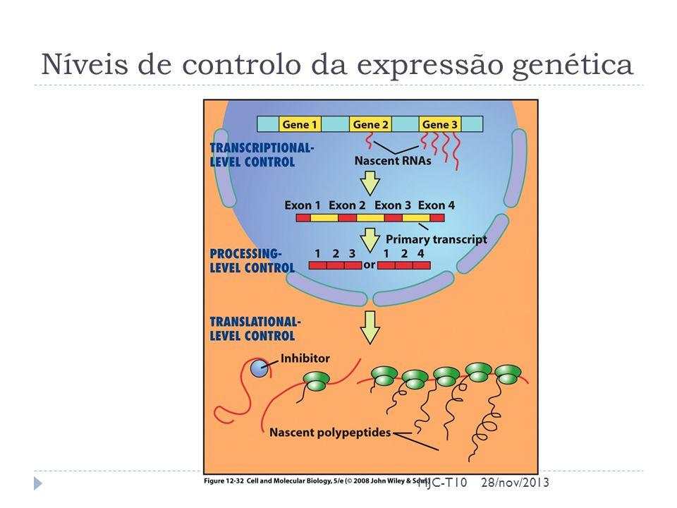 Níveis de controlo da expressão genética MJC-T1028/nov/2013