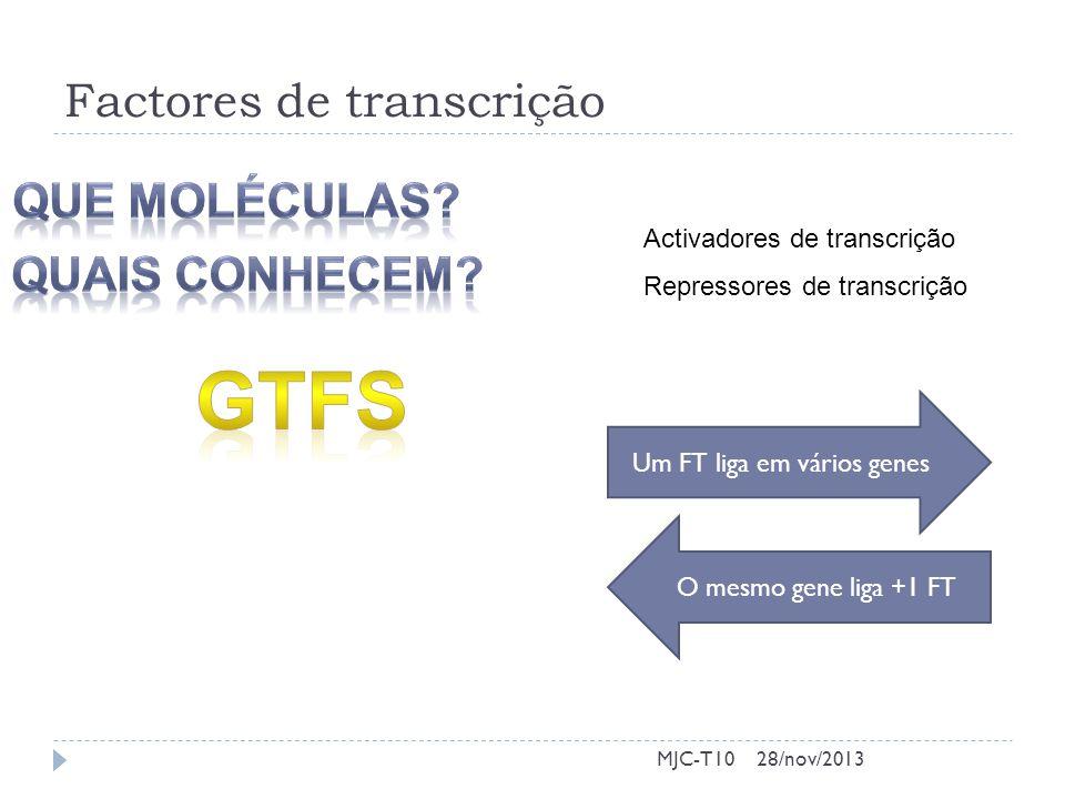 Factores de transcrição MJC-T10 Activadores de transcrição Repressores de transcrição Um FT liga em vários genes O mesmo gene liga +1 FT 28/nov/2013