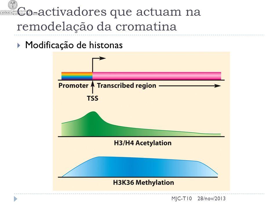 Co-activadores que actuam na remodelação da cromatina  Modificação de histonas MJC-T1028/nov/2013