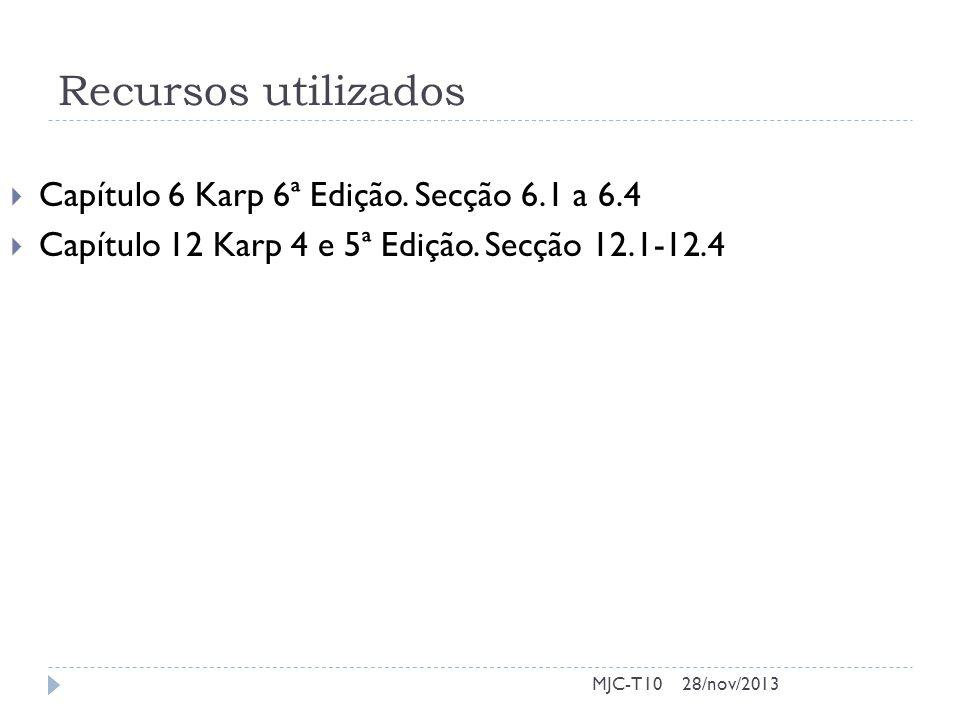 Recursos utilizados  Capítulo 6 Karp 6ª Edição. Secção 6.1 a 6.4  Capítulo 12 Karp 4 e 5ª Edição.