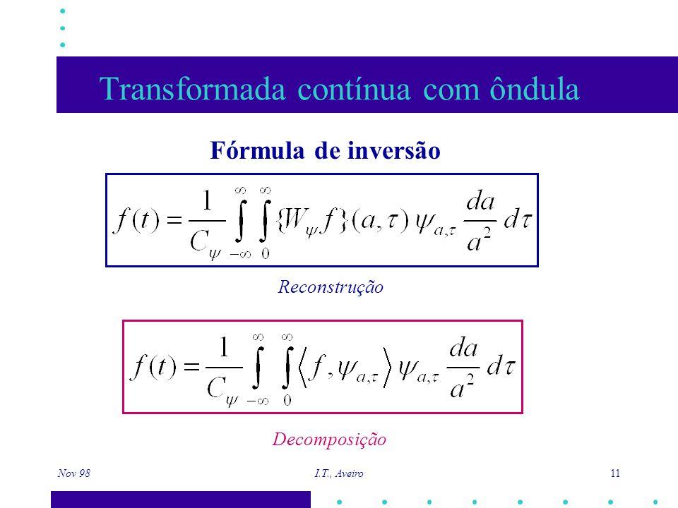 Nov 98 I.T., Aveiro 11 Transformada contínua com ôndula Fórmula de inversão Reconstrução Decomposição
