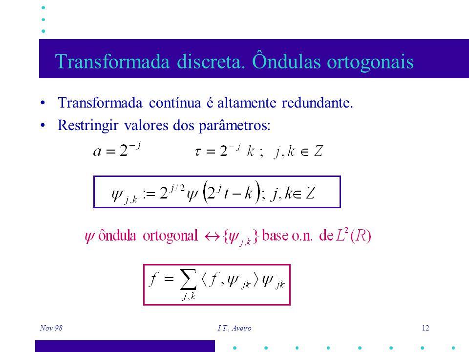 Nov 98 I.T., Aveiro 12 Transformada discreta. Ôndulas ortogonais Transformada contínua é altamente redundante. Restringir valores dos parâmetros: