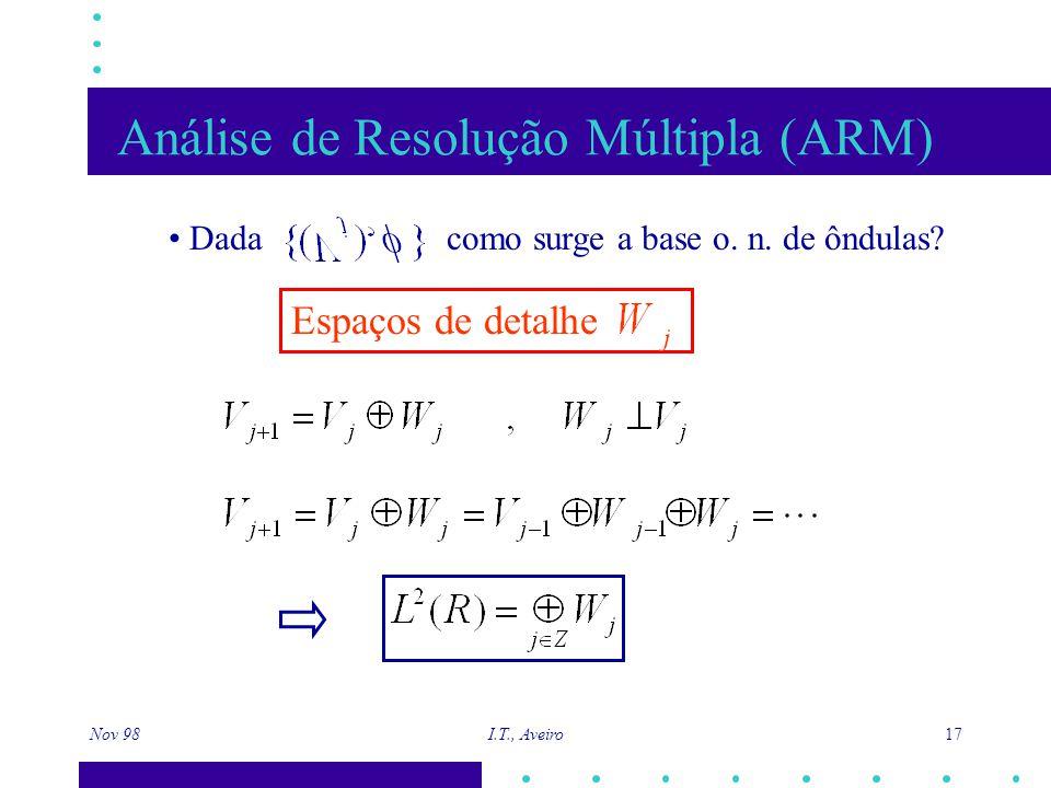Nov 98 I.T., Aveiro 17 Análise de Resolução Múltipla (ARM) Dada como surge a base o. n. de ôndulas? Espaços de detalhe